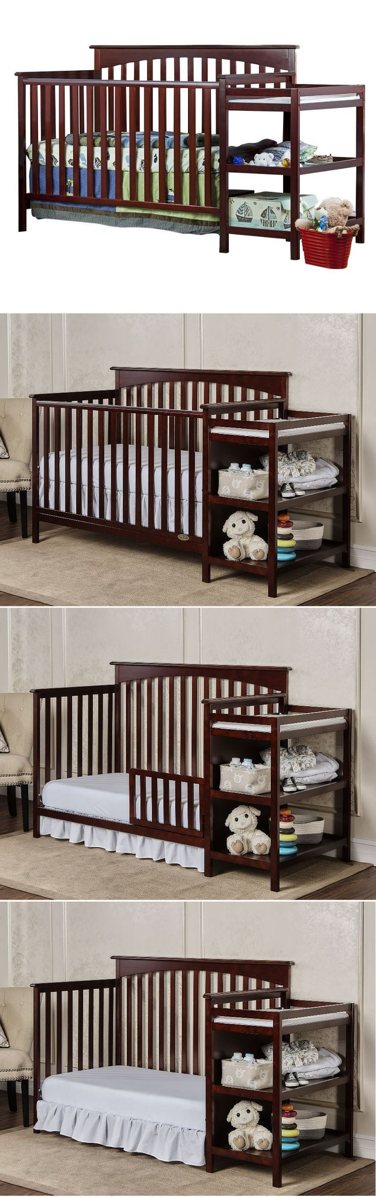 Baby nursery baby crib with changing table nursery furniture toddler bed cherry with mattress