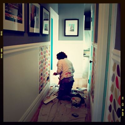 I like the dado rail to divide the hallway walls. paint above and Orla wallpaper below. | Home ...