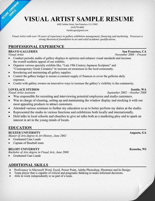 Sample Art Resume Artist Resume Sample Writing Guide Resume - art teacher resume examples