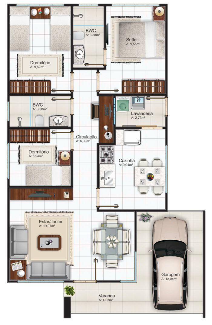 Plantas de casas com 3 quartos fotos e modelos de casas