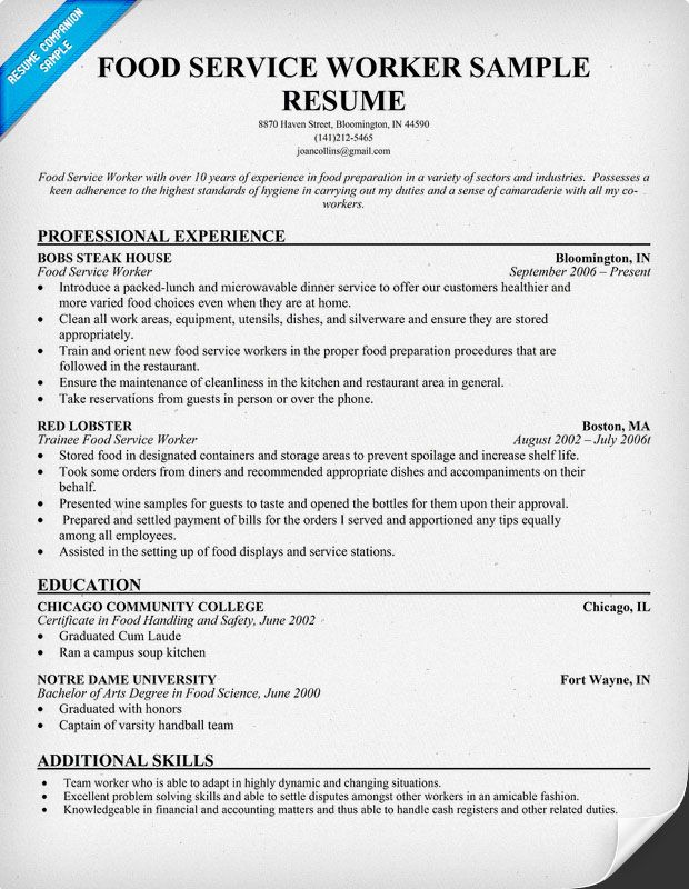 free sample food server resume