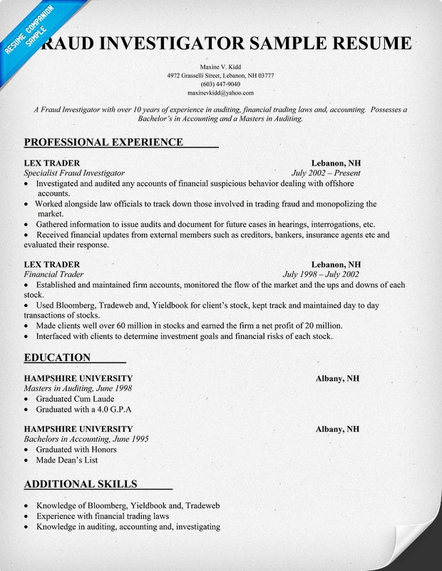 sample resume for private investigator with no experience