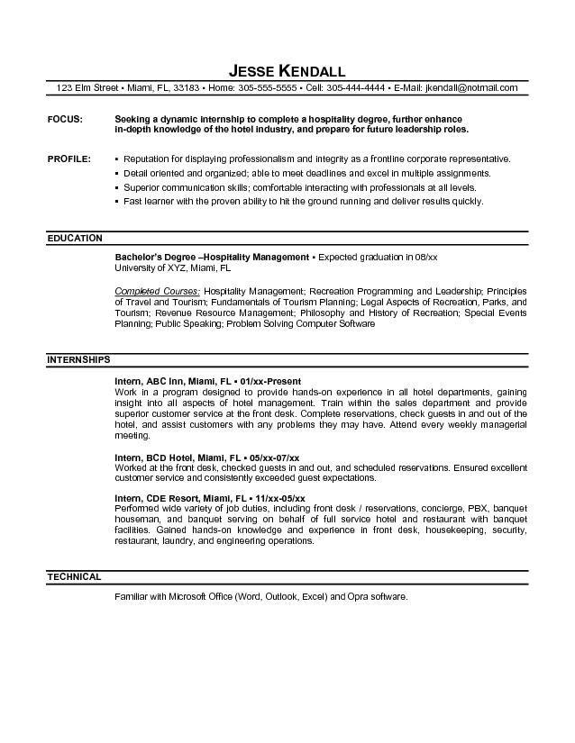 cv anglais objective internship