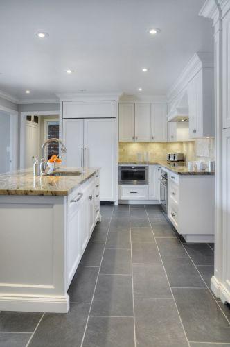 custom kitchens modern kitchen floor tiles Tidy London Kitchen Gray Tile FloorsTile