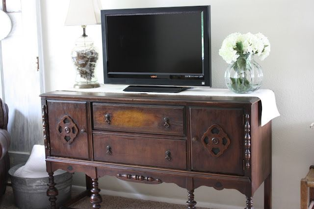Tv Sideboard Ideas I Saw A Tv Mounted Over An Antique Sideboard In A