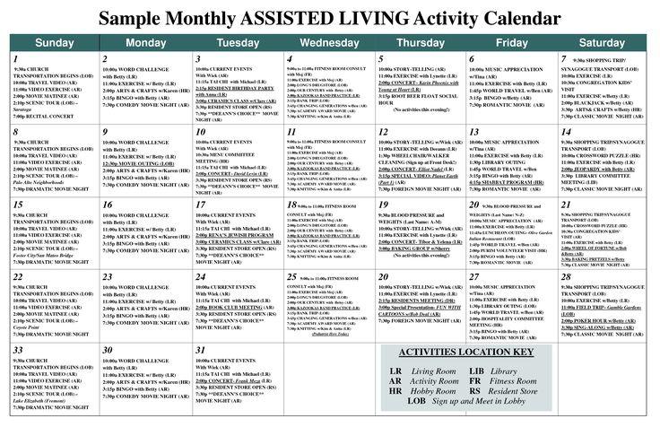 Nursing home activity calendar ideas - Home decor ideas - nursing home activity ideas