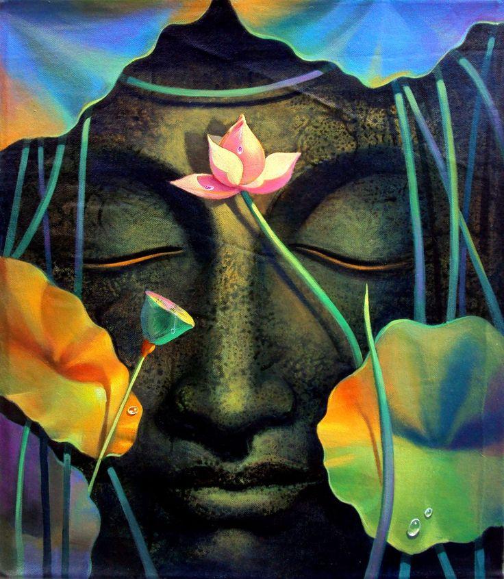 Osho Hd Wallpaper Acrylic Painting Lotus Buddha Posters Canvas Prints