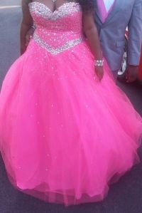 Hot pink and silver poofy prom dress | Dresses  ...