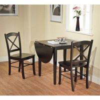BLACK 3-PIECE COUNTRY COTTAGE DINING SET TABLE AND 2 ...