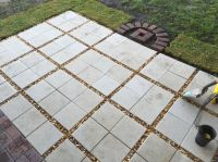 Almost done...Paver patio DIY! 12x12 pavers with gravel ...