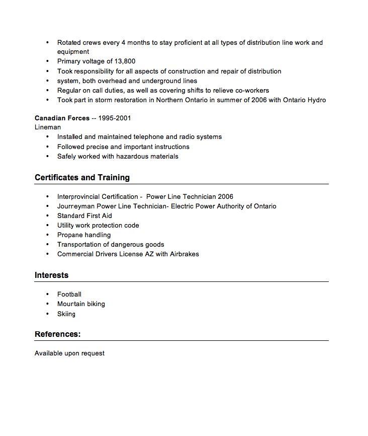 powerline technician apprentice sample resume cvresumecloud