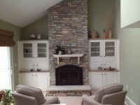 Thin stone veneer installed over old brick fireplace ...