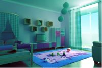 This bedroom is painted in an aqua color and decorated in ...