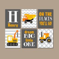 CONSTRUCTION Wall Art, CANVAS or Prints Baby Boy Nursery ...