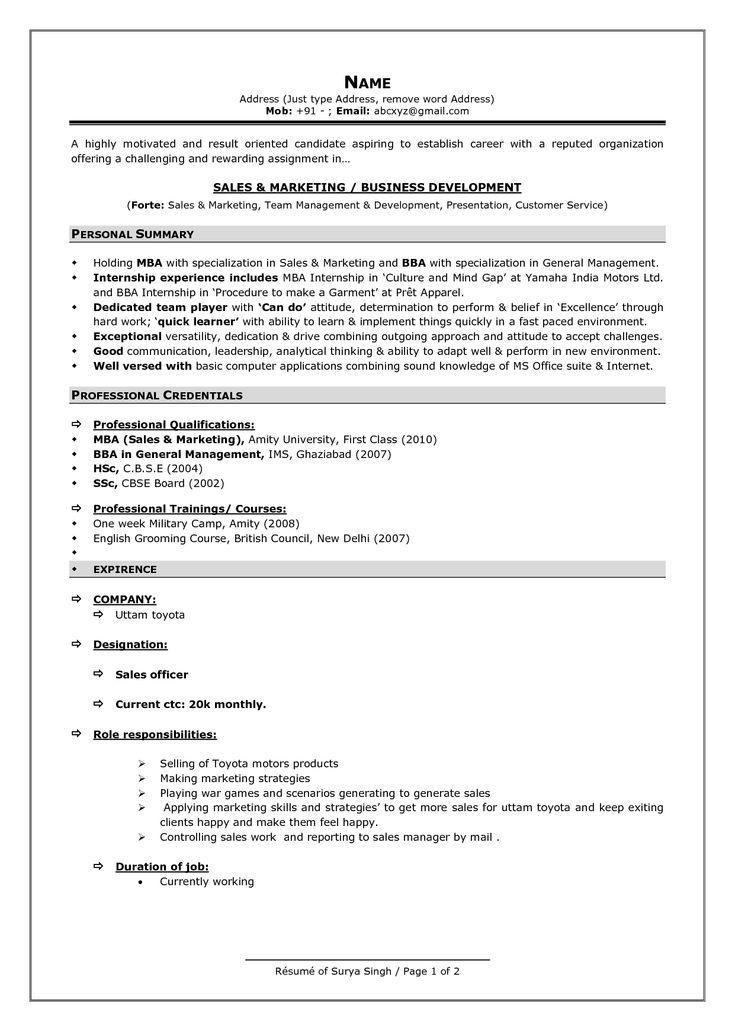 latest professional resume