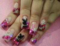 acrylic nail designs playboy bunny