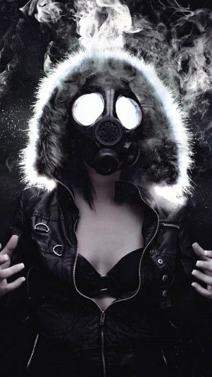 G Eazy Iphone Wallpaper Hd Woman Masked Gas Mask Theiphonewalls Com Girls Iphone