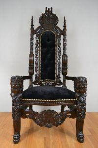 King Throne Chair Hand Made Solid Teak Wood Ornate Carving ...