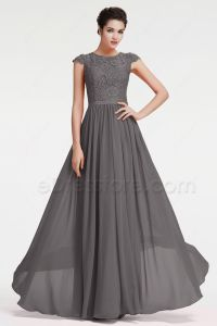 Modest Charcoal Grey Bridesmaid Dresses Cap Sleeves ...