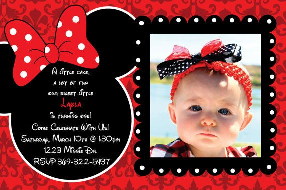 Minnie Mouse Damask Background Birthday Party Custom