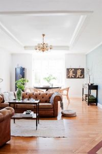 Living room/dining room in Scandinavia. Cognac couch/chair ...
