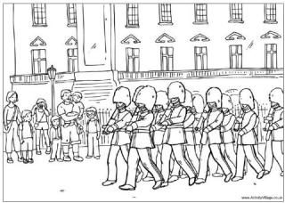 Changing guard at buckingham palace colouring page queen