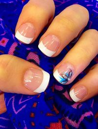 Acrylic nails design spring flower with rhinestone and a ...
