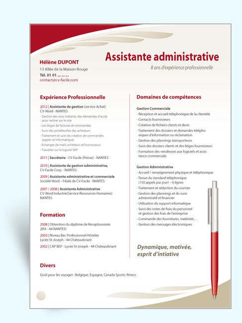 modele cv assistante de sirection