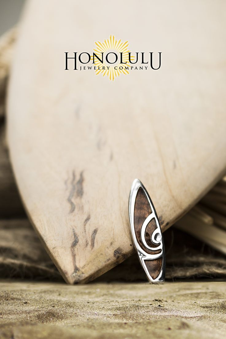 mens hawaiian jewelry hawaiian wedding rings Sterling silver surfboard pendant with gorgeous Hawaiian koa wood inlay tall and wide Your choice of box chain or black cord included