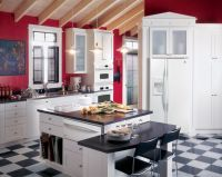 GE Profile #kitchen with red walls, white #cabinets and ...