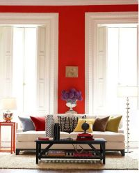 Red walls, white trim. Jewel tone accent colors. | Dream ...