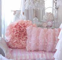 Shabby beach cottage chic peach bahama pink ruffle pillow ...