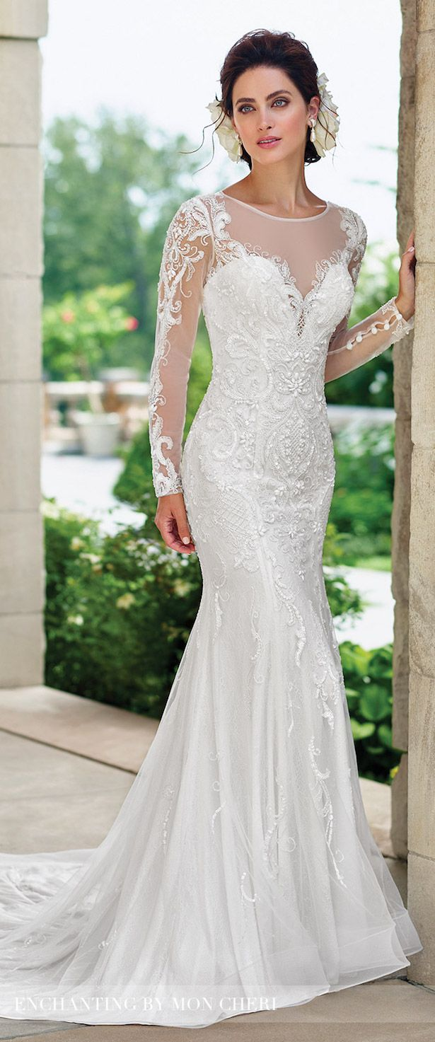 lace sleeves wedding dresses with sleeves Bridal Trends Lace Illusion Sleeves With Mon Cheri Bridals