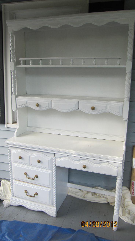 Large White Shabby Chic Desk Hutch Furniture