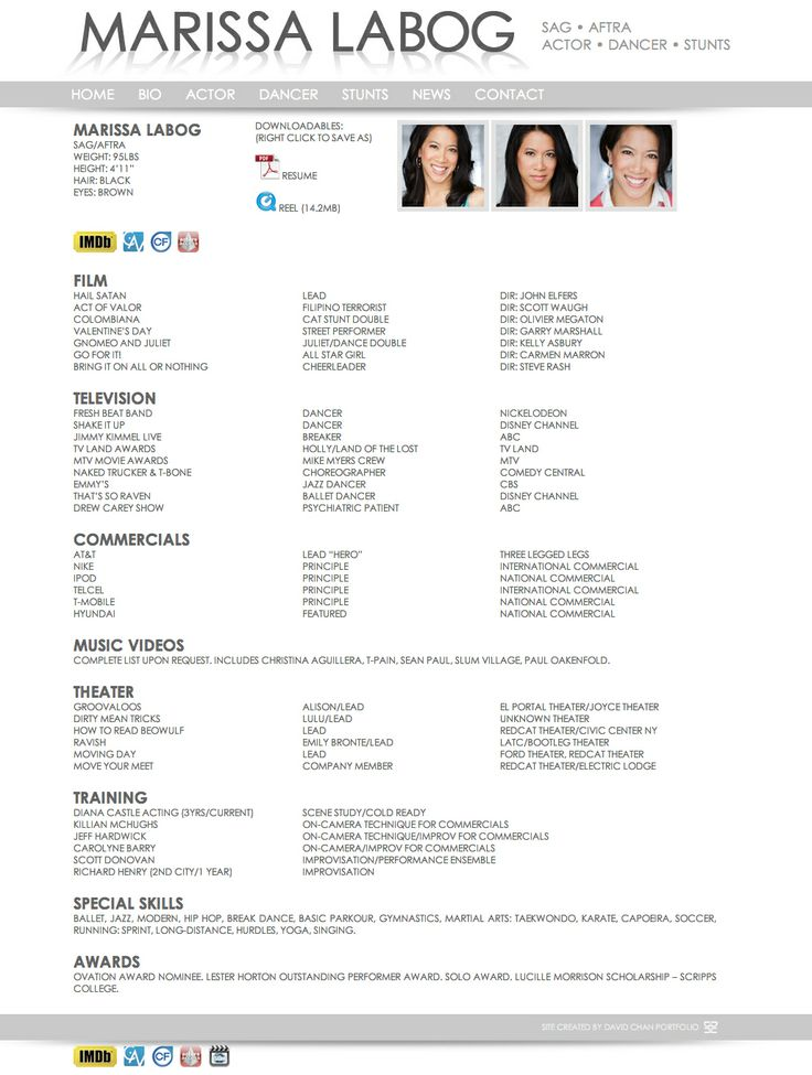 dance management resume examples