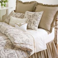 Beige and white toile bedding LOVE | DIY Bedding ...