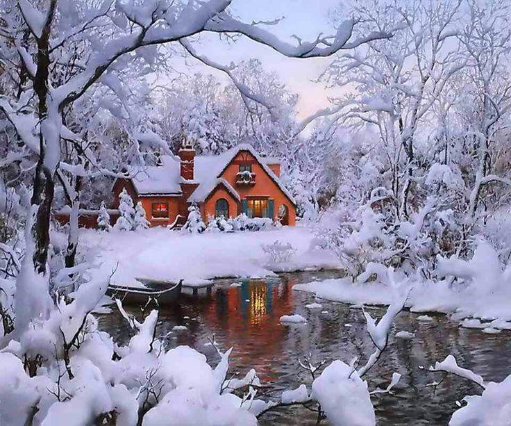 Frank Lloyd Wright Falling Water Wallpaper Log Cabin Winter Scenes Pin It Like Image Warm And