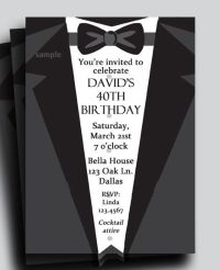 Suit and Tie Tuxedo Invitation Printable or Printed with ...