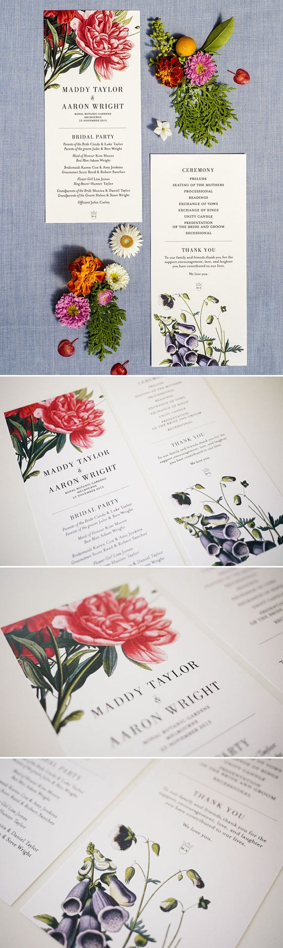 wedding card design wedding invitation software Botanical Floral Order of Service Wedding Program Printable 3EggsDesign design graphicdesign wedding