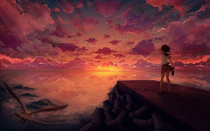 Hex Girl Pokemon Wallpaper Anime Girl At Sunset Pretty Anime Style Pics Pinterest
