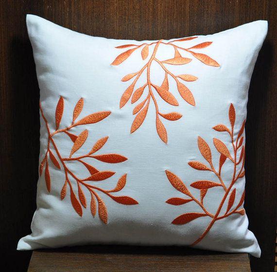 Orange White Decorative Pillow Cover White Linen Pillow