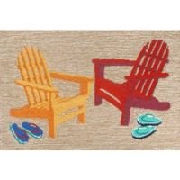Beach door mat with a decorative red and yellow Adirondack ...