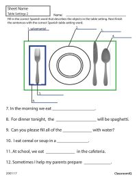 Spanish table setting worksheet #spanishworksheets # ...