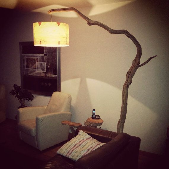 Ikea Staande Lamp Floor Lamp, Arc Lamp, Made Of Oak Branch, On Natural Stone