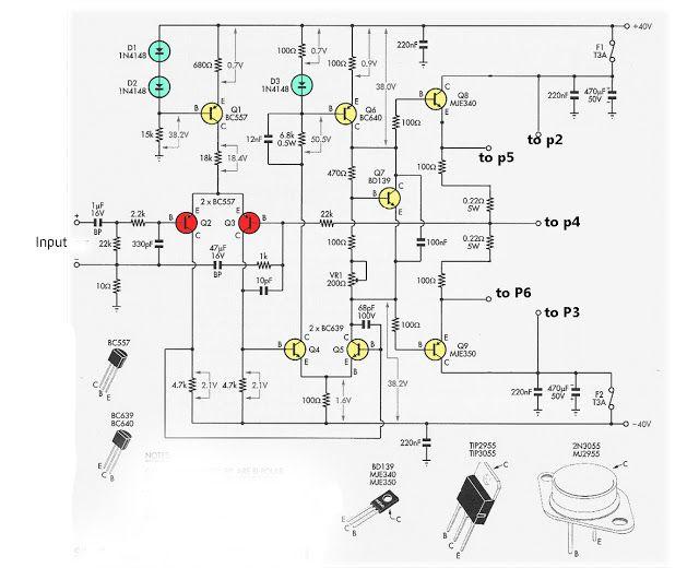 audio amplifier 2n3055 mj2955 elektrik best electronic projects