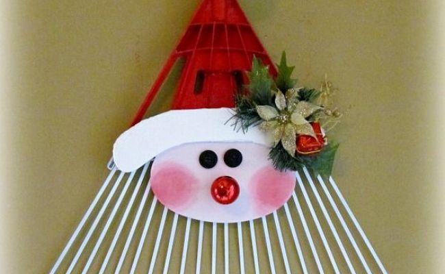Santa Door Greeter Rake Upcycle Christmas Decoration