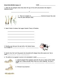Darwin's Theory of Evolution Worksheet | Chapter 15 Theory ...
