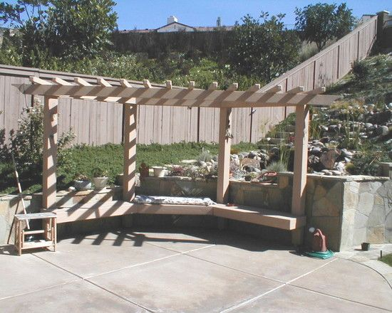 Garden Design Ideas For Small Triangular Gardens Corner Pergola Design With Built In Bench | For The Yard