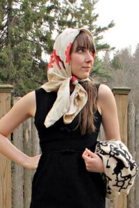 Cream head scarf, tied under chin | Head Scarfs ...