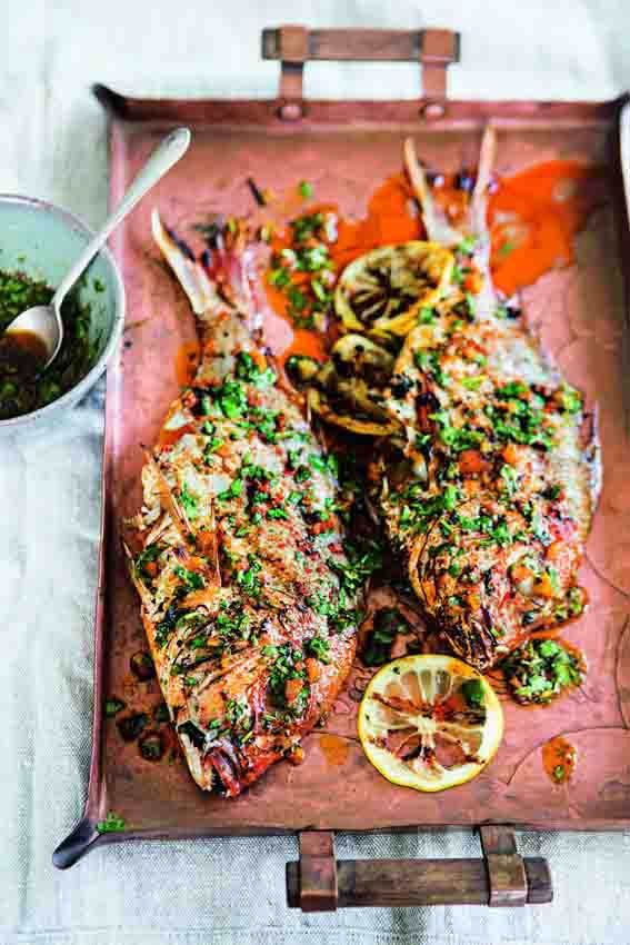 Jamie Oliver Grill Spiced Whole Red Snapper With Chermoula ~~~ Recipe Gateway